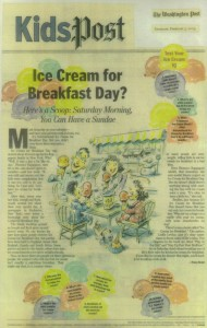 "2004 Washington Post ""Kid'sPost"" story about Ice cream for breakfast day"